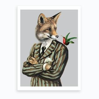 Fox With Bird Art Print