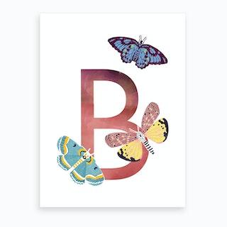 B Butterfly Art Print