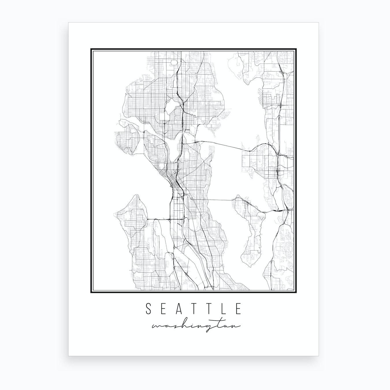 Seattle Washington Street Map Art Print
