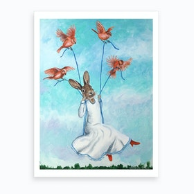 Rabbit On Swing With Birds Art Print