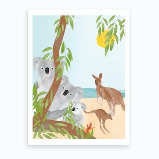 Koalas And Kangaroos Art Print