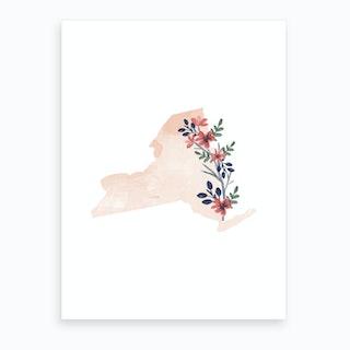 New York Watercolor Floral State Art Print