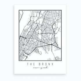 The Bronx New York Street Map Art Print