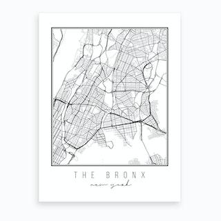 The Bronx New York Street Map Art Print