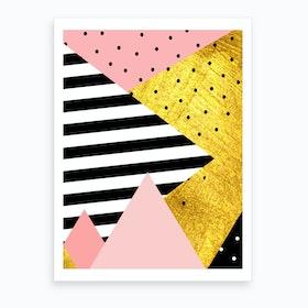 Gold Abstract Pink Art Print