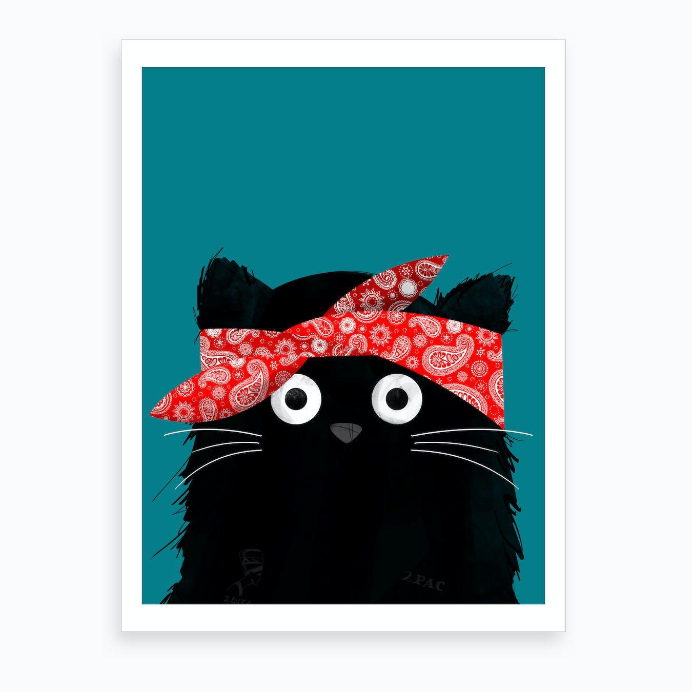 Cat Tupac Art Print