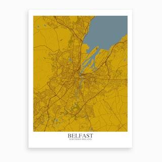 Belfast Yellow Blue Map Art Print