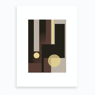 Grey, Brown & Yellow Art Print