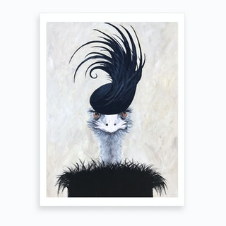 Ostrich With Feather Hat Art Print