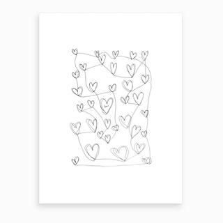 Continuous Hearts Art Print