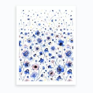 Ink Flowers Degraded Art Print