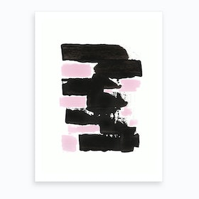 Minimal Black And Pink 1 Art Print