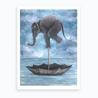 Elephant In Balance Art Print