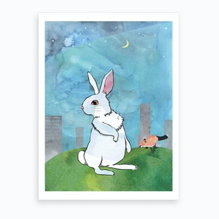 Watercolour Bunny & Fox Art Print