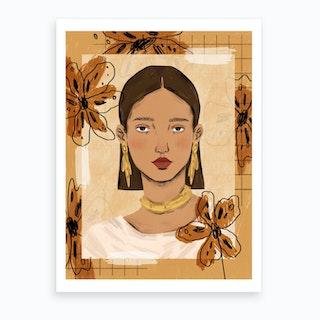 Floral Collage Fashion Portrait Art Print