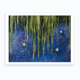 Lake With Blue And Pink Art Print