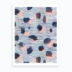 Watercolor Stains Stripes Navy Art Print