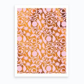 Indian Lotus Pattern Pink Art Print