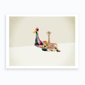 Walking Shadows   Giraffe Art Print