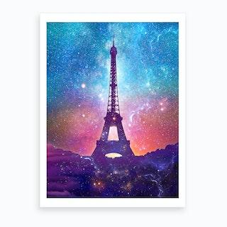 Eiffel Tower   Milky Way Collage Art Print