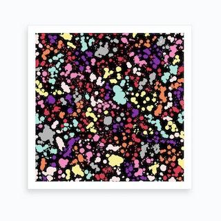Splatter Dots Multicolored Black Art Print