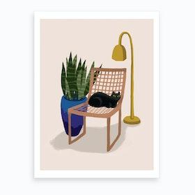Chair Cat Art Print