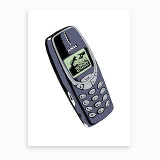 Retro 2000 Mobile Phone Grey Art Print