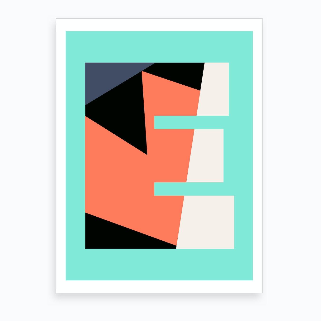 Letter Art Print.Letter E Art Print
