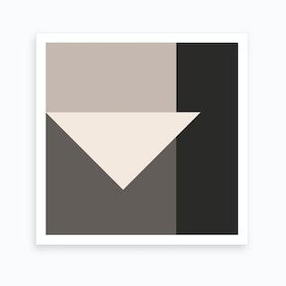 Crisp Triangle In Cream Greys Art Print