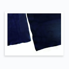 Minimal Navy Blue Abstract 01 Art Print