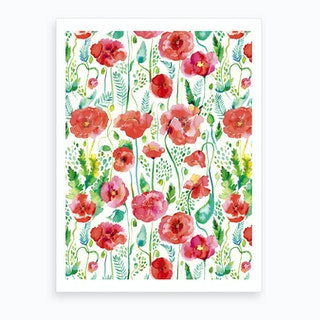 Poppies Red Art Print
