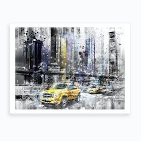Modern Art Brooklyn Bridge and Skyline New York Art Print
