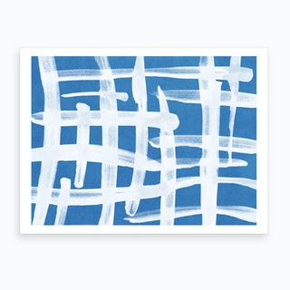 Abstract Lines Blue And White Painting 2 Art Print