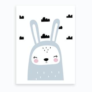 Scandi Grey Bunny With Clouds Art Print