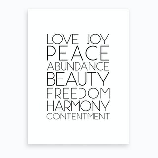 Love Peace Abundance Art Print