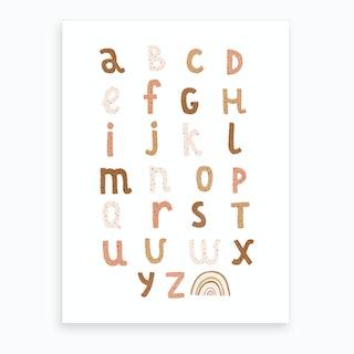 Alphabet Chart With Rainbow  Burnt Umber  Art Print