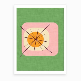 Flower Egg Green Pink Art Print