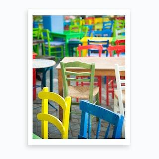 Coloured Taverna Chairs Art Print