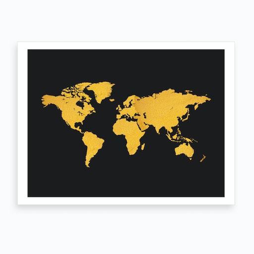 Golden World Map Black Art Print