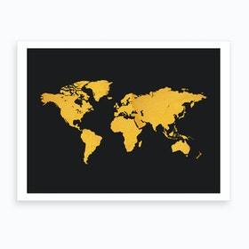 Golden World Map Black Art Print