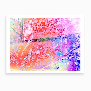 Under The Trees Colorful Abstract Landscape Art Print