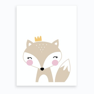 Scandi Beige Fox With Crown Art Print