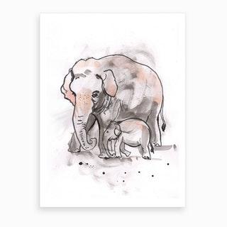 Elephant And Calf Art Print