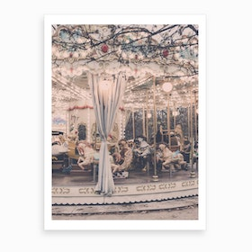 Paris Winter Carousel Art Print