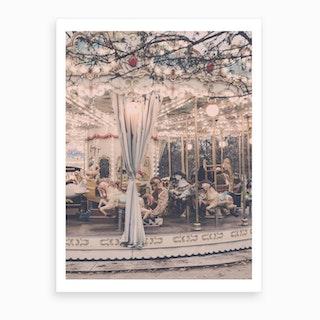 Paris Winter Carousel Art Print