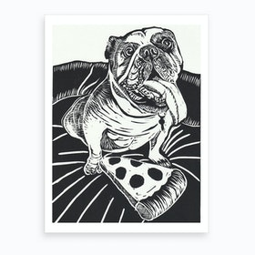 English Bulldog With Pizza Art Print