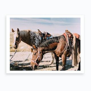 Horses And Desert Art Print