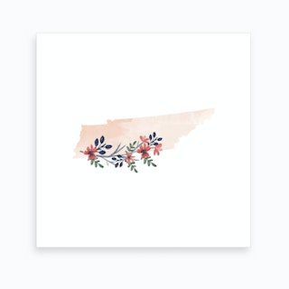 Tennessee Watercolor Floral State Art Print