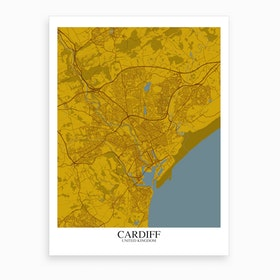 Cardiff Yellow Blue Map Art Print
