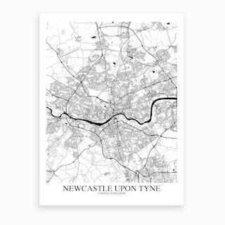Newcastle Upon Tyne White Black Map Art Print